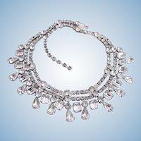 Vintage Eisenberg Ice Clear Teardrop Rhinestone Choker Necklace