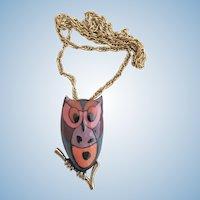 "Vintage Eisenberg ""Artist Series"" Enamel Owl Pendant Necklace"
