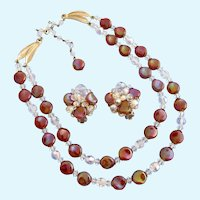 Vintage Eugene Iridescent Art Glass Bead Necklace and Earring Set