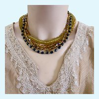 Vintage Eugene Faux Amber and Black Bead Necklace and Clip Earring Set