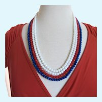 Vintage Eugene Patriotic Red White and Blue Bead Necklace
