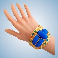 Vintage Egyptian scarab clamper bracelet by Thomas Fattorini - Rare!