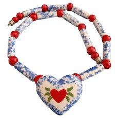Vintage Flying Colors Ceramic Pennsylvania Dutch Heart Necklace