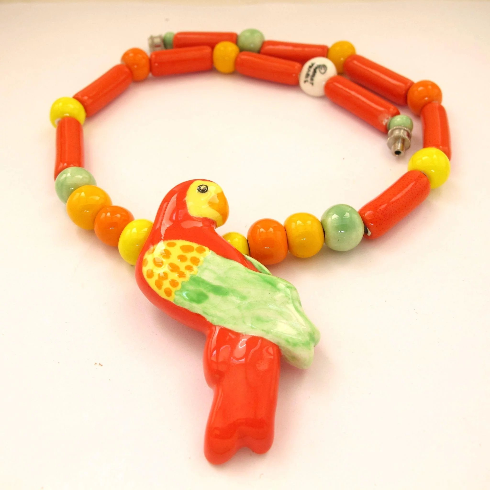 Parrot Pearls Ceramic Parrot Necklace 2hearts Jewelry