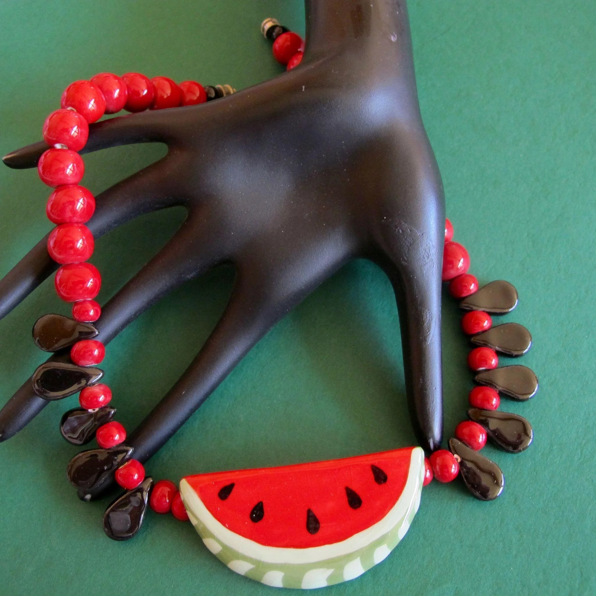 Vintage Flying Colors Ceramic Watermelon Necklace