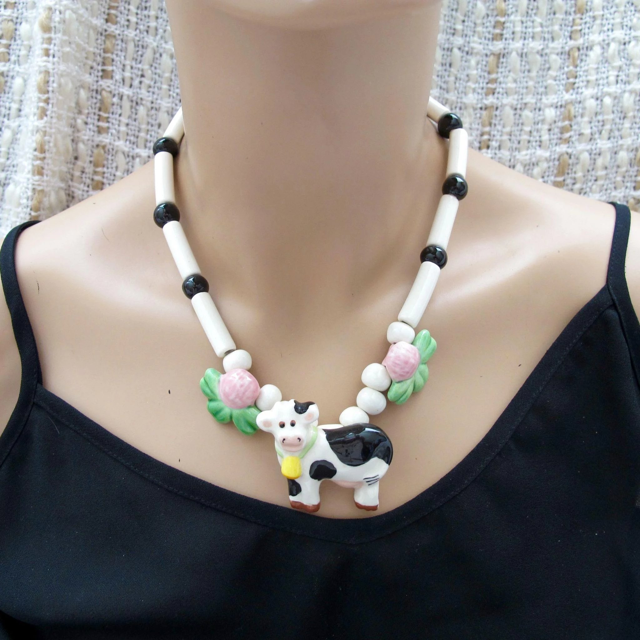 Flying Colors Ceramic Cow Necklace 2hearts Jewelry
