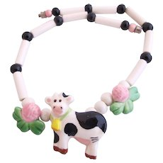Flying Colors Ceramic Cow Necklace