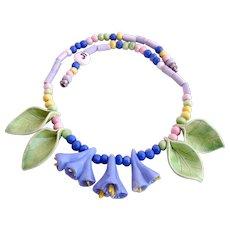 Vintage Parrot Pearls Ceramic Flower Necklace