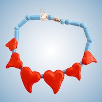 Vintage Parrot Pearls Curvy Hearts Ceramic Choker Necklace