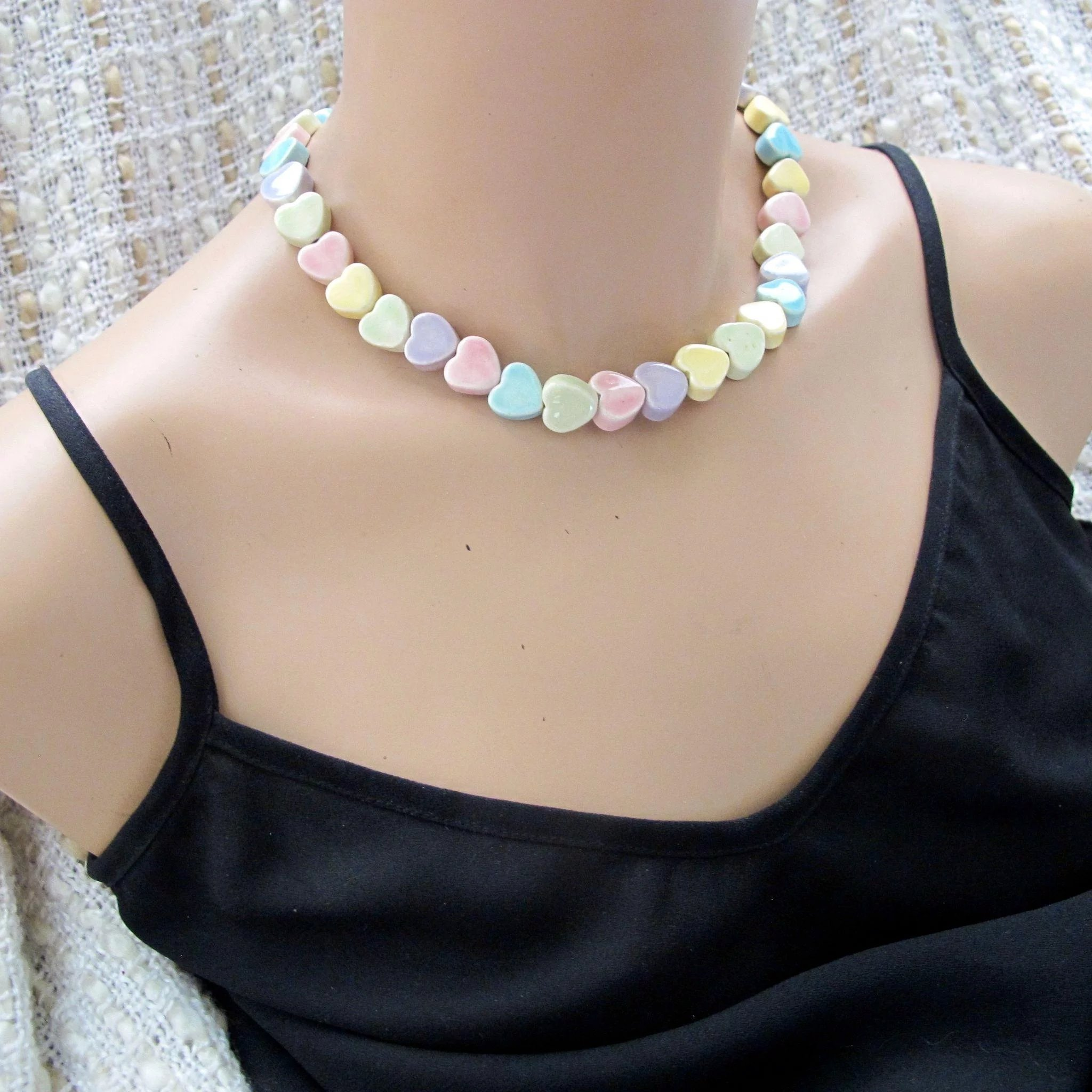 Vintage Parrot Pearls Pastel Candy Hearts Ceramic Necklace