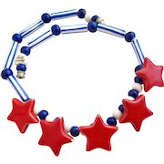 Vintage Flying Colors Patriotic Red Stars Ceramic Necklace