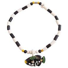 Vintage Parrot Pearls Ceramic Tropical Fish Necklace