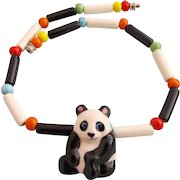 Vintage Flying Colors Ceramic Panda Necklace