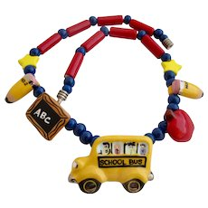 Flying Colors School Theme Ceramic Necklace