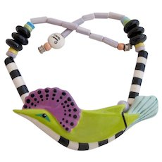 Vintage Parrot Pearls Ceramic Tropical Bird Necklace