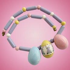 Vintage Flying Colors Easter Egg Ceramic Necklace