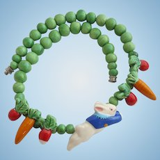 Vintage Flying Colors Peter Rabbit Theme Ceramic Necklace