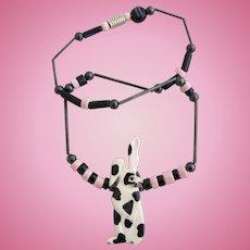Vintage Ruby Z Ceramic Bunny Rabbit Necklace by Candace Loheed