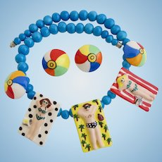 Vintage Flying Colors Ceramic Sunbathers Necklace and Beach Ball Earrings