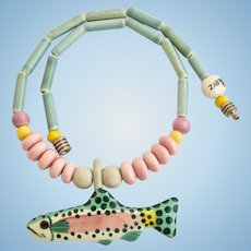 Vintage Ruby Z Candace Loheed Ceramic Fish Trout Necklace