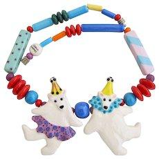 Vintage Ruby Z  Dancing Polar Bear Clowns Ceramic Necklace By Candace Loheed