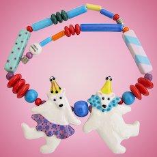 Vintage Ruby Z Candace Loheed Dancing Polar Bear Clown Ceramic Necklace