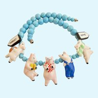 Vintage Flying Colors Ceramic Piggy to Market Nursery Rhyme Necklace