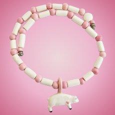 Vintage Parrot Pearls Ceramic Pig Pendant Necklace