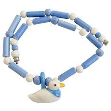 Vintage Flying Colors Ceramic Duck Pendant Necklace