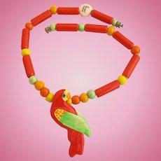 Vintage Parrot Pearls Ceramic Orange Parrot Necklace
