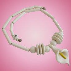 Vintage Ruby Z Ceramic White Lily Necklace by Candace Loheed