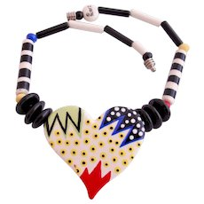 Vintage Ruby Z Colorful Ceramic Heart Necklace by Candace Loheed