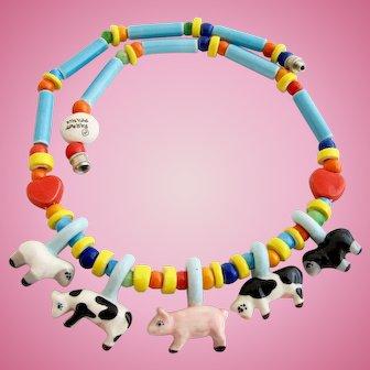 Vintage Parrot Pearls Ceramic Farm Animal Choker Necklace