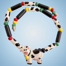 Vintage Flying Colors Ceramic Cow Choker Necklace
