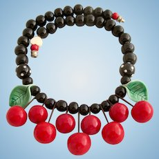 Vintage Flying Colors Ceramic Cherries Choker Necklace