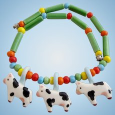 Vintage Flying Colors Ceramic Cows Necklace