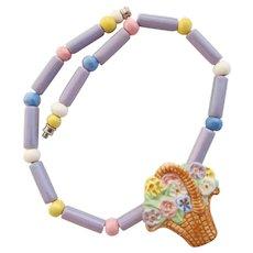 Vintage Flying Colors Ceramic Flower Basket Necklace