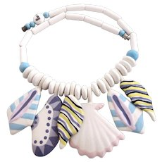 Vintage Ruby Z Ceramic Sea Shells Necklace by Candace Loheed