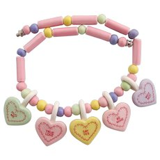 Vintage Flying Colors Ceramic Valentines Day Hearts Ceramic Necklace
