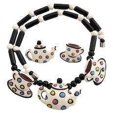 Vintage Flying Colors Tea Set Ceramic Necklace and Pierced Earrings