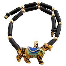 Vintage Flying Colors Ceramic Tiger Choker Necklace