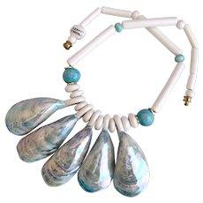 Vintage Ruby Z Ceramic Blue Shells Necklace by Candace Loheed