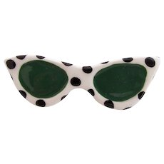 Vintage Flying Colors Ceramic Sunglasses Pin