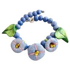 Vintage Parrot Pearls Ceramic Tropical Blue Flower Choker Necklace