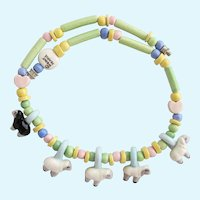 Vintage Flying Colors Ceramic White and Black Sheep Necklace