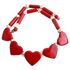Vintage Flying Colors Red Ceramic Hearts Necklace