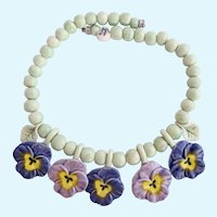 Vintage Flying Colors Ceramic Pansy Flower Necklace