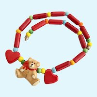 Vintage Flying Colors Ceramic Teddy Bear and Heart Necklace