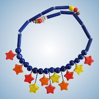 Vintage Flying Colors Ceramic Star Necklace