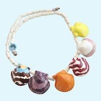 Vintage Parrot Pearls Ceramic Sea Shells Choker Necklace